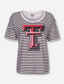 "Texas Tech ""Coed"" Black & White Striped T-Shirt"