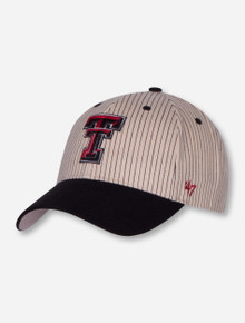 47 Brand Texas Tech Double T on Ivory & Black Pinstriped Adjustable Cap