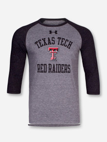 Under Armour Texas Tech Red Raiders Heather Grey & Charcoal Raglan