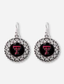 Texas Tech Double T Surrounded by Heart Filigree Silver Earrings