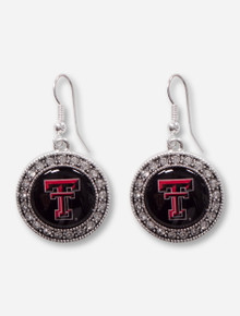 Texas Tech Double T Surrounded by Rhinestones Silver Earrings