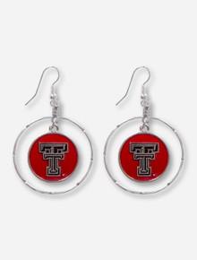 Texas Tech Red Double T Embossed Hoop Border Silver Earrings