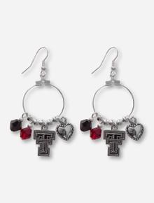 Texas Tech Double T, Heart & Crystal Charm Silver Hoop Earrings