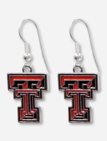 Texas Tech Embossed Silver Enameled Double T Dangle Earrings