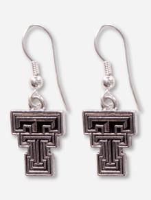 Texas Tech Embossed Silver Double T Dangle Earrings