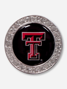 Texas Tech Double T Surrounded by Rhinestones Silver Brooch