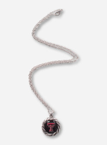 Texas Tech Double T Pendant with Rope Border Silver Necklace