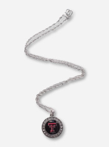 Texas Tech Double T Pendant Surrounded by Rhinestones Silver Necklace