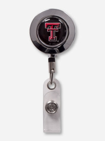 Texas Tech Chrome Border Double T Round Retractable ID Badge Holder