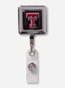 Texas Tech Chrome Border Double T Square Retractable ID Badge Holder