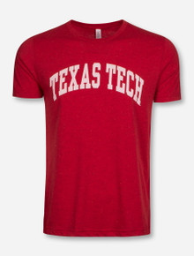 Texas Tech Arch in White on Red Confetti T-Shirt