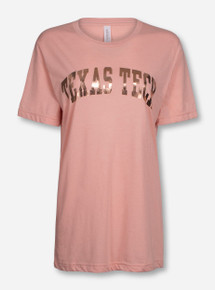 Texas Tech Arch in Rose Gold Foil on Light Pink T-Shirt