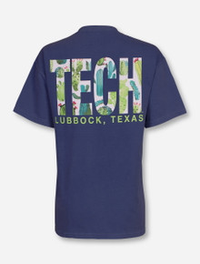 "Lubbock, TX TECH ""Succulents"" on Midnight Blue T-Shirt"