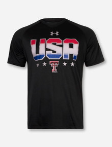 Under Armour Red White and Blue USA on Black T-Shirt