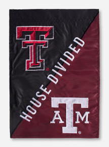 "House Divided: TTU/A&M Black & Maroon 12.5"" x 18"" Flag"