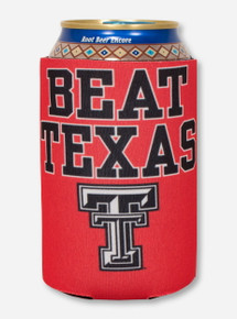 Beat Texas & Double T on Red Koozie - Texas Tech