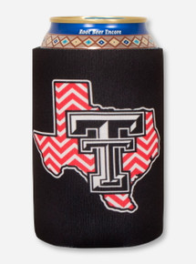 Texas Tech Chevron Lone Star Pride Logo on Black Koozie