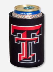 Texas Tech Double T on Black Koozie