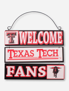 """Red Raiders """"We Welcome Texas Tech Fans"""" Wall Sign"""