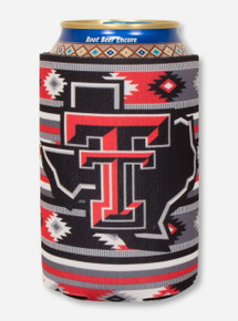 Lone Star Pride Logo on Red & Black Aztec Koozie - Texas Tech