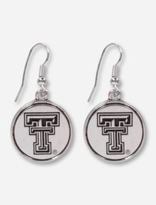 Texas Tech Red Raiders Silver Medallion Earrings