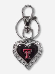 Texas Tech Red Raiders Heart Filigree Key Chain