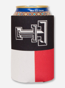 Texas Flag with Double T Star on Red, White & Black Koozie - Texas Tech