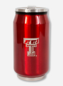 Double T & Texas Tech on Red Metallic Travel Can