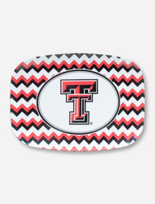 Texas Tech Double T on Black, White & Red Chevron Serving Tray