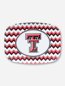 Texas Tech Double T on Black, White & Red Chevron Serving Tray