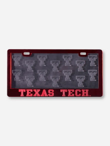 Etched Double T Cover & Texas Tech Red License Plate Frame