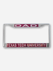 Texas Tech University Dad on Red & Chrome License Plate Frame
