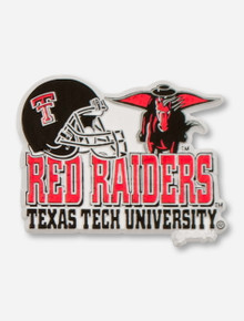 Red Raiders, Texas Tech, Helmet & Masked Rider on White Magnet
