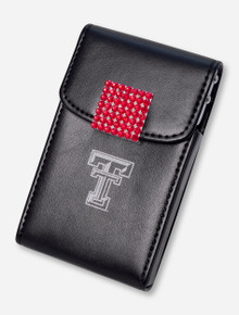 Texas Tech Red Rhinestone Accented Black Leather Business Card Case