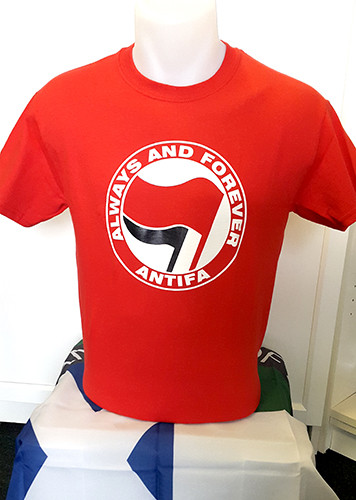 ANTIFA (red) Always and Forever Anti-Fascist T-shirt