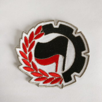 ANTIFA COG 100% embroidered patch, can be ironed on.