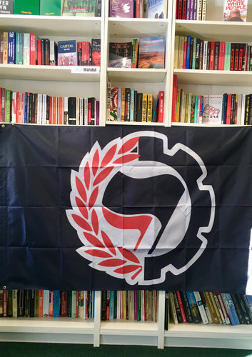 Antifa Cog and Wreath - double sided - black Flag