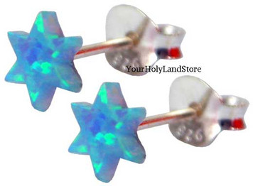 Silver and Blue Opal Star of David Earrings