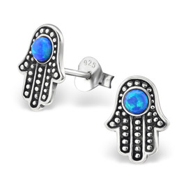 925 Sterling Silver & Blue Opal Hamsa Stud Earrings