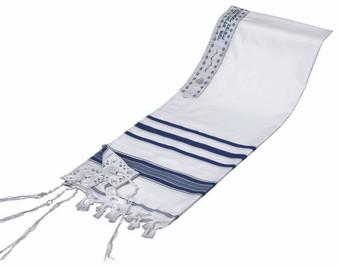 Jewish Prayer Shawl with Blue Stripes