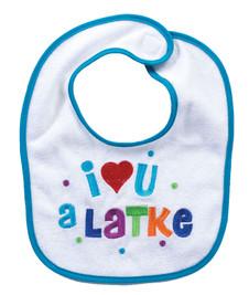 """""""I Love You A Latke"""" Chanukah Bib"""