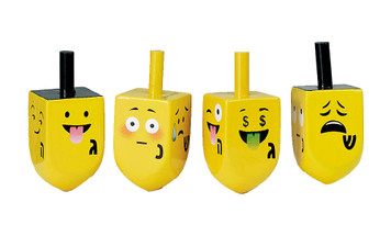 4 Painted Wood Dreidels with Emojis