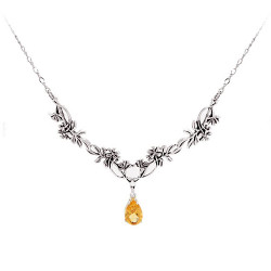 Two Link Wildflower Necklace with a Dangled Gemstone
