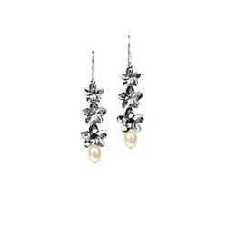 Plumeria Earrings | Three Dangling Flowers with Pearls