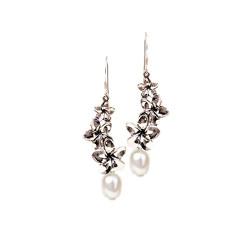 Plumeria Earrings   Three Flowers with Pearls
