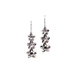 Silver Plumeria Earrings | Three Dangling Flowers