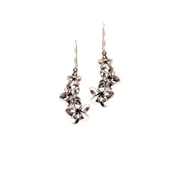 Silver Plumeria Earrings | Three Flowers