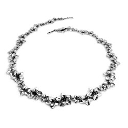 Silver Plumeria Flower Necklace with Three Flowers