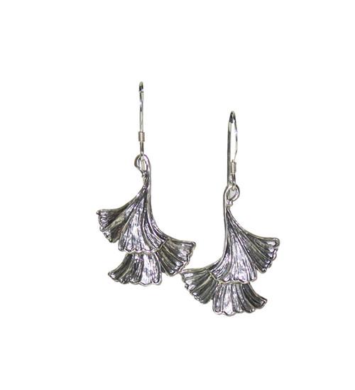Ginkgo two Leaf Earrings