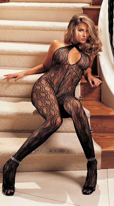Swirl Black Lace Halter Bodystocking